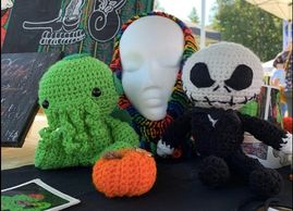 mount laurel fall festival, crochet, plushies, jack skellington, cthulhu, knit, scarves, craft fair