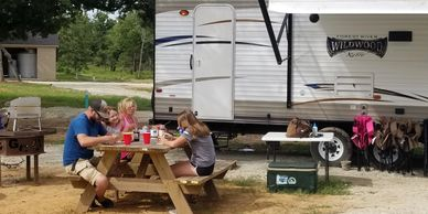 spacious camp sites with table