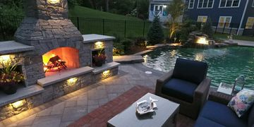 outdoor living, pool, patio, fireplace, backyard oasis