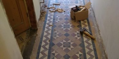Victorian Minton floor cleaning Derbyshire