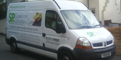 carpet cleaning Nottingham and Derby van, collecting rugs from Nottingham