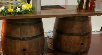 Wine barrel table bar beverage station sweets table wedding rentals sacramento