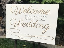 White gold welcome wedding sign rental sacramento wedding rentals custom signs
