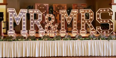 Marquee letters Wedding MR & MRS sign