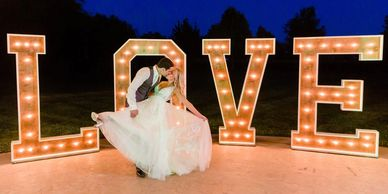 Marquee letters Wedding LOVE sign