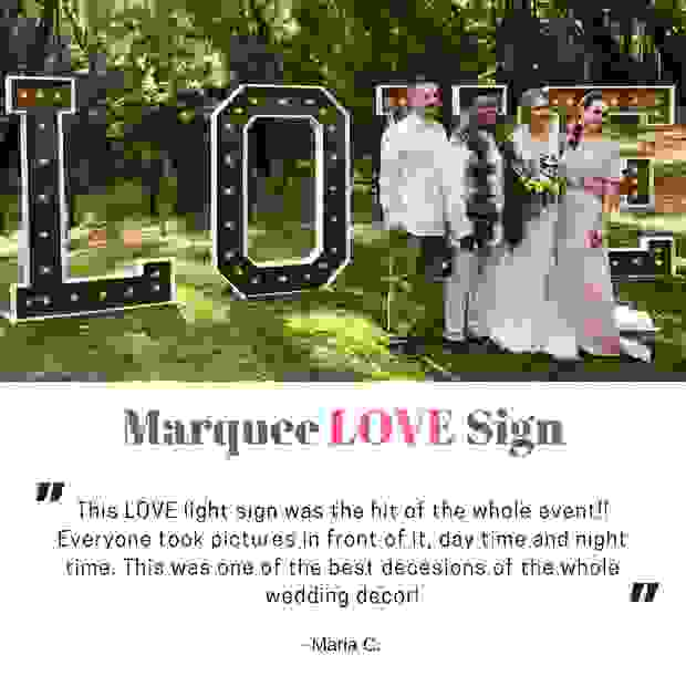 Large LOVE Marquee Letters for private estate wedding