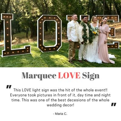 Large Marquee LOVE sign light up letters wedding backdrop