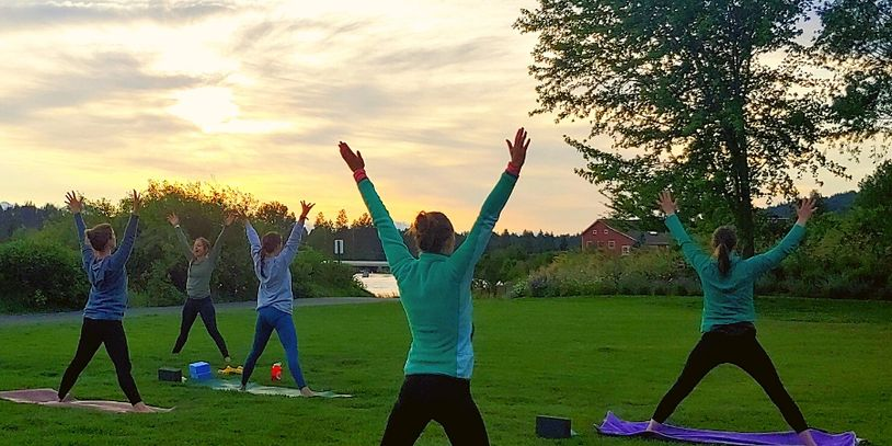 Outdoor Yoga and Wine Event in the Old Mill District at Free Spirit Yoga + Fitness + Play in Bend