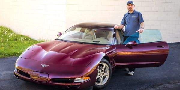 Our very first paint protection film project, a 2003 Corvette. Covered with 3M paint protection film