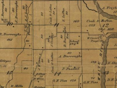 1866 Map of Noblesville, IN, centered on J. Crosley, original owner of the 80 acre tract