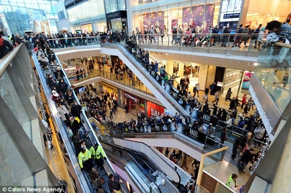 this is a mall in the UK showing how busy they are.