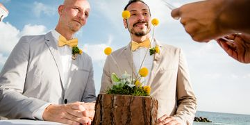 LGBT Wedding ceremony Couple in love ready to take their vows Beach wedding destination curacao