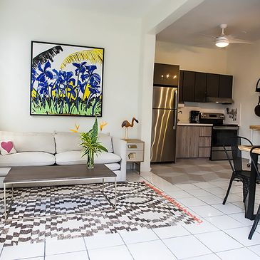 The beautiful studio apartment at R Casa in Rincon Puerto Rico. 1 bedroom, 1 bath with shared pool.