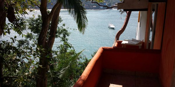 This room has a small balcony with a half view of the yelapa bay.