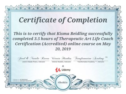 Therapeutic Art Life Coach Certificate, May 20, 2019