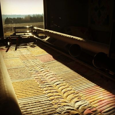 Glorious morning sunshine in the studio with long arm u-turns and sweet swirl feather vine
