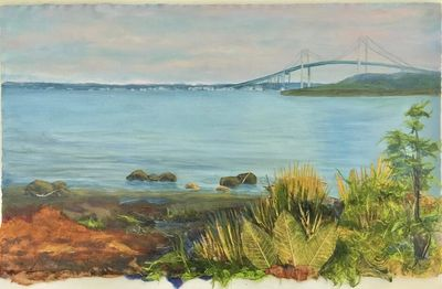 East Passage Narragansett Bay -Mixed media,Museum uv glass,