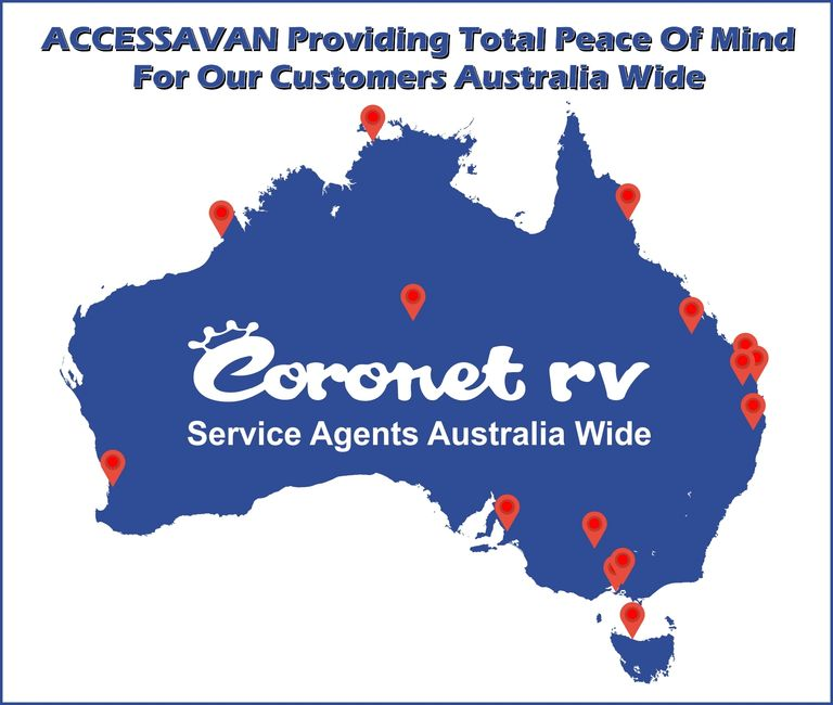 Providing Total Peace Of Mind For Our Customers Australia Wide, Map of the Coronet RV Service Agents