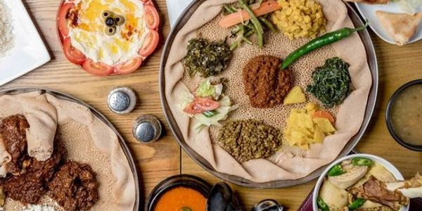 Traditional Ethiopian dishes on a wooden table