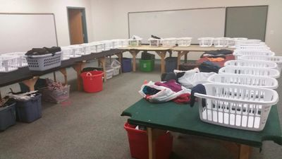 Our sorting room has baskets for sizes infant - adult, where we sort clothing by season and size.