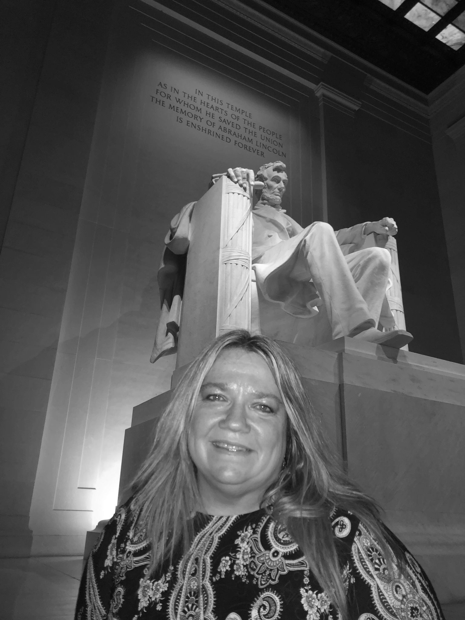 Dottie Laster at the Lincoln Memorial in Washington, D.C.