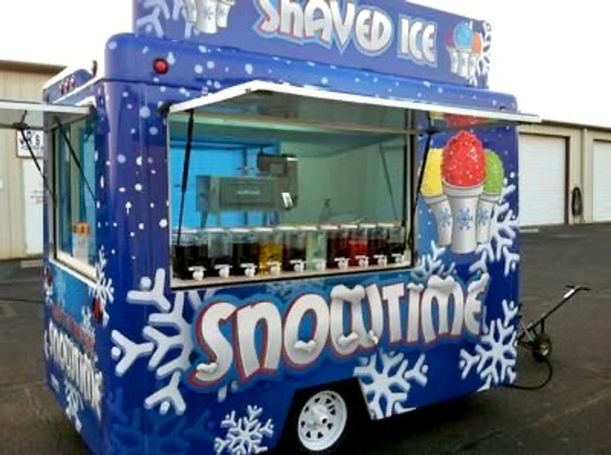 Shaved ice food cart trailer
