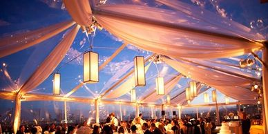 Clear top and white large tent rental