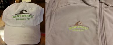 custom embroidered logo on a hat and a jacket