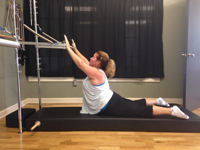 Christine on the Pilates Tower