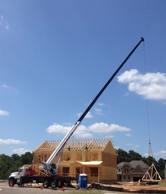 Roof truss setting services underway in Atlanta, GA