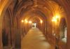 The main corridor. Long gothic arches lead the way towards the old main entrance and Historic Staircase