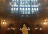 John Rylands statue in the Historic Reading Room. This statue is facing his wife Enriqueta at the other end of the room