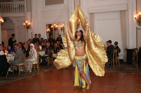 Zaina Zahra, Bellydancing Performance with Golden Wings, Middle Eastern Wedding, Georgian Terrace, M