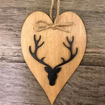 wooden christmas tree stag design bauble
