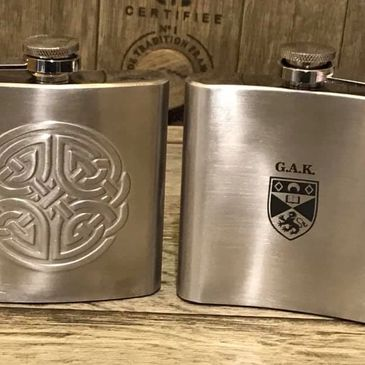 laser engraved hip flask