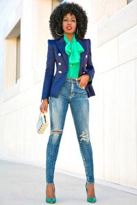 Allow us to customize your look!!!! Denim and blazers are perfect for night on the town or office look.