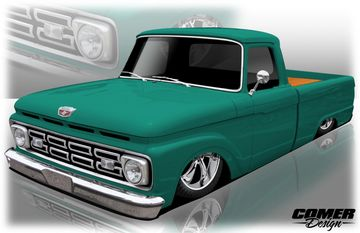 Single View 3/4 Rendering Classic Ford F100