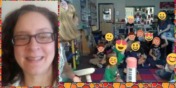Dawn reading to a classroom via Skype