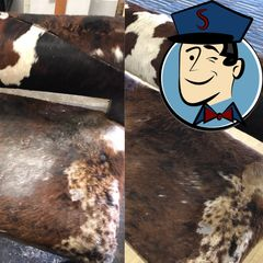An expensive cowhide couch that was damaged from a kitchen fire, that we cleaned in Windsor.