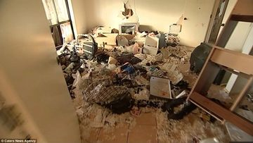 A picture of a trashed property, found from the internet.