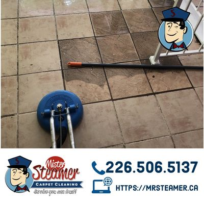 A restaurant floor we performed a restorative tile and grout cleaning on in downtown Windsor.