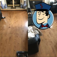 A hardwood floor we cleaned and decontaminated of urine in Tecumseh, Ontario.