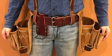 leather tool belt suspension rig with suspenders, pouches, hammer holder, tape holder, speed square
