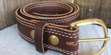 leather belts thick and stitched brass or silver buckles, durable brown and black, changeable buckle