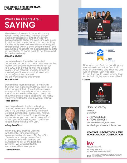 Easterby and Associates are here to help you in the Big Bear Valley. Whether you are looking to Buy or Sell your Big Bear Home Big Bear MLS featured listings. Sugarloaf, Big Bear City, Big Bear Lake, Fawnskin, snow summit area Easterby and Associates, Daniel Easterby, Genelle Rich, Crystal Llewelyn, Linda Guevarra, Tyler Williams Big Bear Listings, Whispering Forest. 4 bedroom 3 bath for sale. Excellent Big Bear Vacation  Rental Big Bear lake featured listings. Access Big Bear MLS. Search for your Big Bear Cabin or new AirBnB. Buy Sell Big Bear Real Estate with Keller Williams Big Bear Lake Arrowhead top producing Big Bear Realtors Easterby and Associates. Best of Zillow Premier Agent.  Big Bear lake Local Choice buy sell big bear real estate homes and land