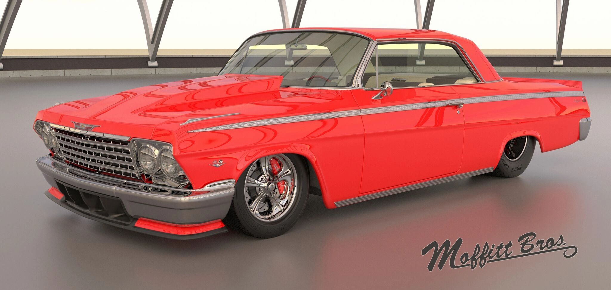 Custom Prostreet 1962 Impala featuring the Rat Tail Wheels, TMI Interior, full custom treatment.