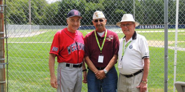 Shown at the 2014 Baseball Tournament are Paster, Dept Commander Charlie Towers and PNC Jake Comer