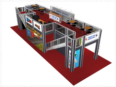 Gilina Rail two story double deck trade show booth exhibit display 20 x 60