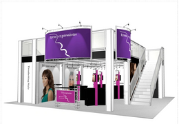 Tress expressions two story trade show booth exhibit display 30 x 30 deck