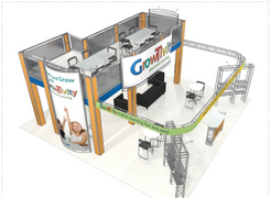 Growtivity two story trade show booth exhibit deck 30 x 30